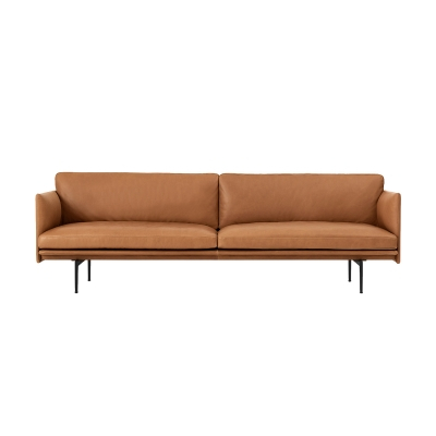Outline 3-seter sofa, silk leather/cognac