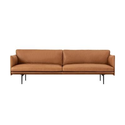 Outline 3-seter sofa, silk leather/cognac