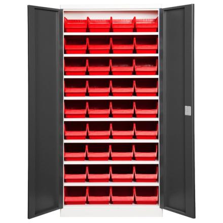Lagerskab ASPB Mod1 1980x980x550 Grå dør Rød kasse