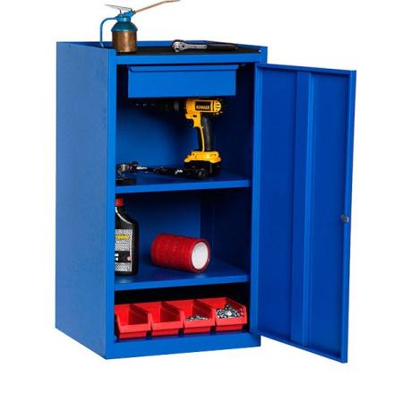 Enkelt verktygsskåp B500 D450 H900 Blå