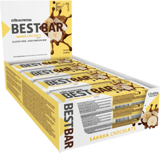 12 x Best Bar, 60 g, COATED Crispy Banana Chocolate (soft)