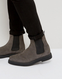 ASOS Chelsea Boots In Grey Suede With Creeper Sole