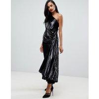 ASOS EDITION - One shoulder-klänning med draperad topp med paljetter - Svart