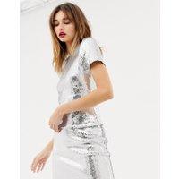 Warehouse x Ashish - Silverfärgad t-shirt med paljetter - Silver
