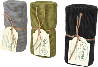 Strikkede håndklæder i øko-tex bomuld - Mørk oliven