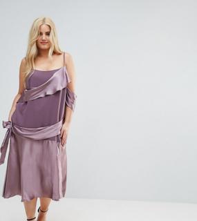 ASOS CURVE Colourblock Satin Midi Dress with Tie Detail-Purple