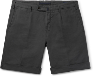 Slim-fit Garment-dyed Linen And Cotton-blend Shorts - Charcoal