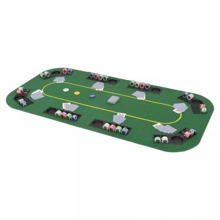 vidaXL foldbart pokerbord til 8 spillere 4-fold rektangulært grøn
