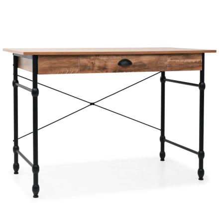 vidaXL skrivebord med skuffe 110 x 55 x 75 cm egetræsfarve