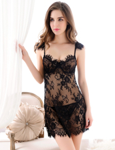 Black Sheer Floral Lace Babydoll Set