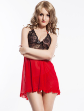 Red Mesh with Lace Cup Lingerie