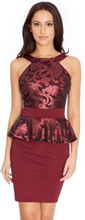 Halter Neck Peplum And Sequin Mini Dress