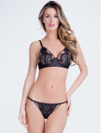 Delicate Lace Trim BH med G-string