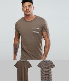 Brave Soul 2 Pack Stripe And Plain T-Shirt - Tan