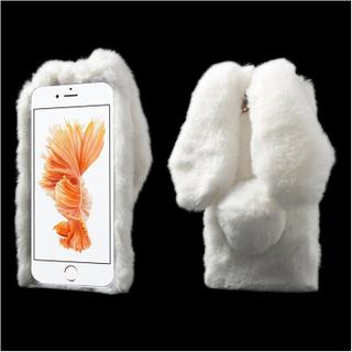 Fleksibelt deksel med kaninører og pels for iPhone 7 Plus / 8 Plus - Hvit
