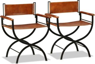 vidaXL Sammenleggbare stoler 2 stk ekte lær 59x48x77cm svart og brun