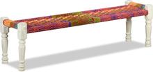 vidaXL Bänk massiv akaciaträ med chindityg flerfärgad