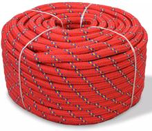 vidaXL Båtlina i polypropylen 6 mm 100 m röd