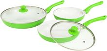 vidaXL Stekpannor 5 delar grön aluminium