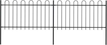 vidaXL Trädgårdsstaket med böjd topp stål 3,4x1 m svart