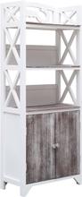 vidaXL Badrumsskåp vit och brun 46x24x116 cm paulownia