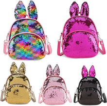 Glitter Backpack Kids Girls Boys Rabbit Ears Sequin Backpacks Knapsack Children School Bags Rucksack Travel Bags Gifts