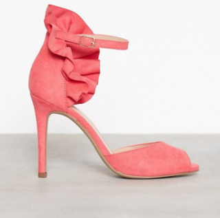 Bianco Fan Counter Sandal High Heel Coral Red