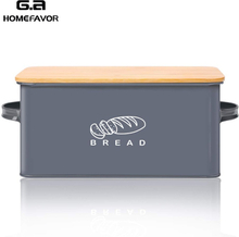 Storage Boxes Bread Bins With Bamboo Cutting Board Lid Metal Galvanized Snack Box Kitchen Food Containers Home Decor