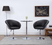 vidaXL Snurrbar matstol svart konstläder