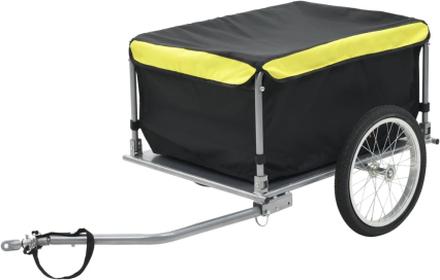 vidaXL Cykelvagn 65 kg svart/gul
