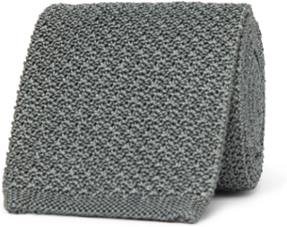 7cm Knitted Silk Tie - Gray