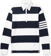 Striped Cotton Rugby Shirt - Midnight blue