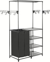 vidaXL Klädhängare stål och non-woven tyg 87x44x158 cm svart