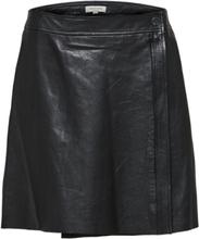 SELECTED Mid Waist - Leather Skirt Women Black