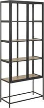 Seaford vitrineskab i stål sort/eg med 2 glaslåger - Højde 185 cm