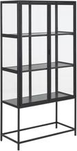 Seaford vitrineskab i sort stål med 2 glaslåger - Højde 150 cm