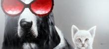 Tavla oljemålning 150x70 cm - Hund & Katt