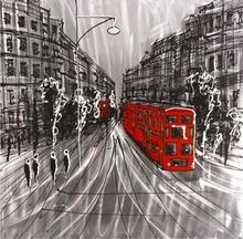 Tavla London Street - Röd buss