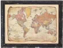 Tavla antik Världskarta 130x100 cm - Svart ram