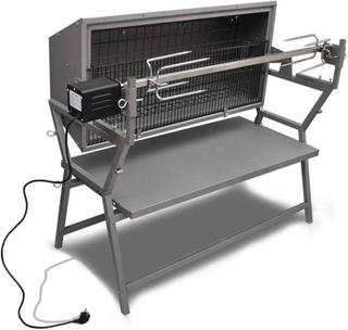 vidaXL Grill med grillspyd jern og rustfritt stål