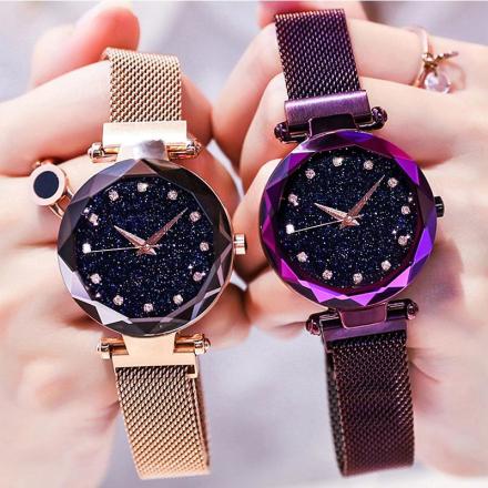 Top Brand Luxury Watches Women bayan kol saati Magnet Buckle Starry Sky Quartz Watch For Ladies Rose Gold Mesh Women Wristwatch