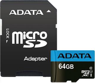 ADATA 64GB MicroSDXC minneskort med SD-adapter, UHS-I, Klass 10, A1, B