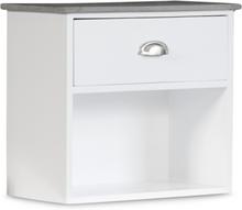 Sängbord Hugo vägghängt med 1 låda - Vit/Cement