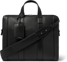 Textured-leather Briefcase - Black