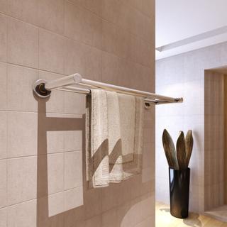 vidaXL Håndklædeholder 2 rør rustfrit stål
