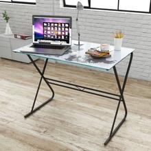 vidaXL Glass skrivebord med verdenskart design