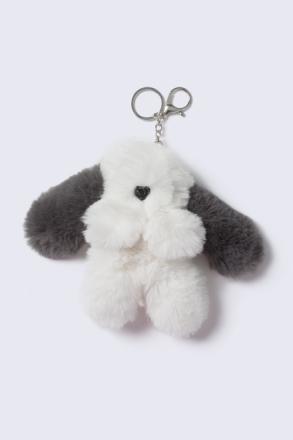 Grey Fluffy Puppy Keyring