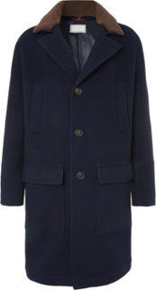 Shearling-trimmed Virgin Wool And Cashmere-blend Coat - Navy