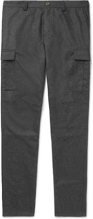Tapered Mélange Wool-flannel Cargo Trousers - Charcoal