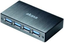 Akasa Connect 4SV, USB 3.0 hubb med fyra portar, borstad aluminum, sv